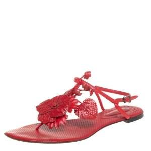 Bottega Veneta Red Perforated Leather Petal Detail T-Strap Flat Sandals Size 36