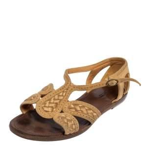 Bottega Veneta Beige Suede And Satin Flat Sandals Size 37