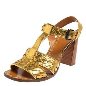 Bottega Veneta Metallic Gold Intrecciato Leather T Strap Sandals Size 39