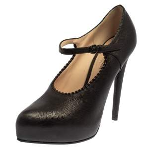 Bottega Veneta Black Leather Platform Pumps Size 38