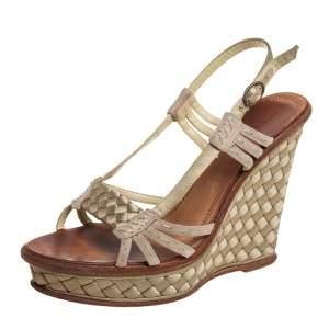 Bottega Veneta Green Satin And Leather Platform Wedge Sandals Size 40