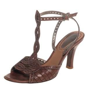 Bottega Veneta Brown Intrecciato Perforated Leather Ankle Strap Sandals Size 40