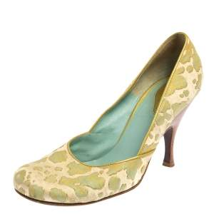 Bottega Veneta Cream/Green Fabric And Leather Pumps Size 38