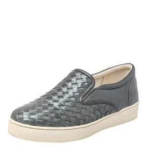 Bottega Veneta Grey Intrecciato Leather Dodger Slip On Sneakers Size 37.5