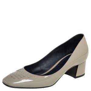 Bottega Veneta Grey Patent Leather Block Heel Pumps Size 37