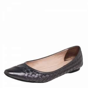 Bottega Veneta Metallic Grey Intrecciato Leather Pointed Toe Ballet Flats Size 38