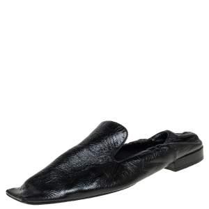 Bottega Veneta Black Leather Square Toe Smoking Slippers Size 36.5