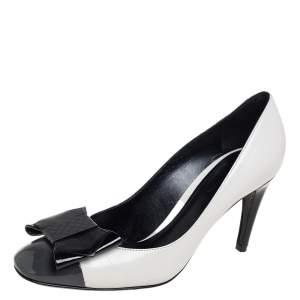 Bottega Veneta Tricolor Patent Leather And Leather Intrecciato Bow Pumps Size 38