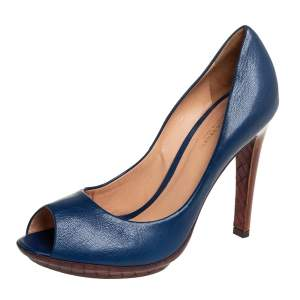 Bottega Veneta Blue Leather  Peep Toe Pumps Size 38