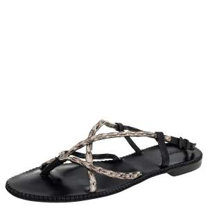 Bottega Veneta White/Black Leather Strappy Thong Sandals Size 41