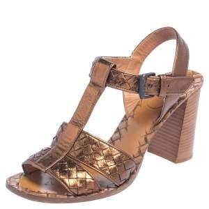 Bottega Veneta Bronze Intrecciato Leather Block Heel Sandals Size 39.5