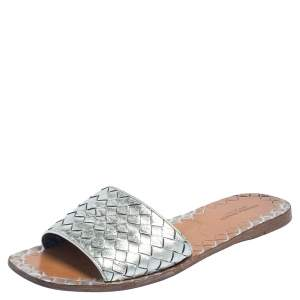Bottega Veneta Silver Intrecciato Leather Slide Flats Size 39