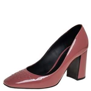 Bottega Veneta Dusty Pink Patent Leather Intrecciato Detail Block Heel Pumps Size 36.5