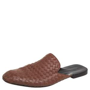 Bottega Veneta Brown Intrecciato Leather Slide Sandals Size 43