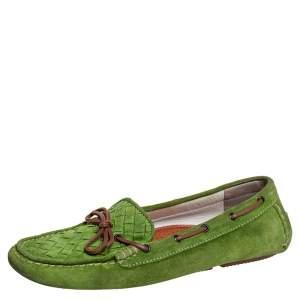 Bottega Veneta Green Intrecciato Suede Bow Slip On Loafers Size 38.5