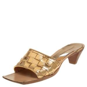 Bottega Veneta Metallic Gold Intrecciato Leather Stretch Square Toe Slide Sandals Size 38