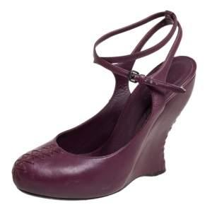 Bottega Veneta Dark Purple Leather Wedge Pumps Size 40