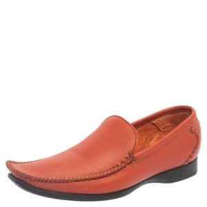 Bottega Veneta Orange Leather Pointed Toe Slip On Loafers Size 37