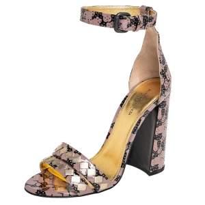 Bottega Veneta Beige/Black Print Patent Leather Block Heel Ankle Strap Sandals Size 38