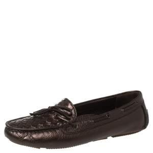 Bottega Veneta Metallic Brown Intrecciato Leather Bow Slip On Loafers Size 38.5