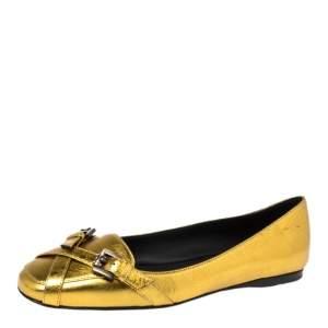 Bottega Veneta Gold Leather Ballet Flats Size 38