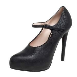 Bottega Veneta Black Leather Mary Jane Strappy Pointed Toe Pumps Size 37.5