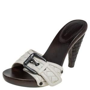 Bottega Veneta White Intrecciato Leather Heel Mules Size 37