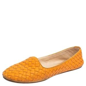 Bottega Veneta Orange Intrecciato Leather Ballet Flats Size 38.5