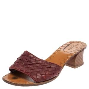 Bottega Veneta Burgundy Intrecciato Leather Block Heel Slide Sandals Size 38