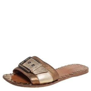 Bottega Veneta Gold/Bronze Leather Buckle Detail Flat Slides Size 38