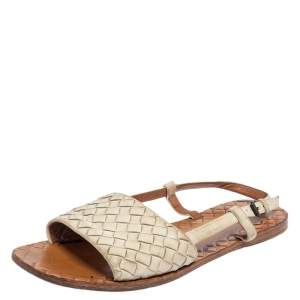 Bottega Veneta White Intrecciato Leather Slingback Sandals Size 36.5