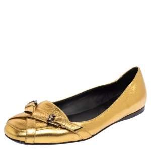 Bottega Veneta Gold Leather Ballet Flats Size 39
