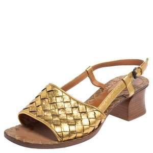 Bottega Veneta Gold Intrecciato Leather Sandals Size 36
