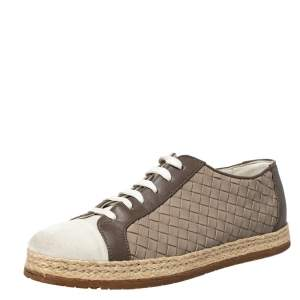 Bottega Veneta Intrecciato Leather And Suede Lace Up Espadrilles Sneakers Size 38