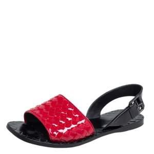 Bottega Black/Red Patent Leather Veneta Slingback Sandals Size 36