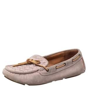 Bottega Veneta Pink Intrecciato Suede Bow Slip On Loafers Size 37