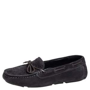 Bottega Veneta Black Intrecciato Suede Bow Slip On Loafers Size 36.5