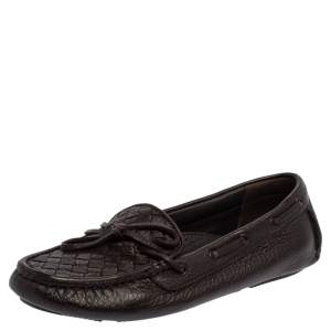 Bottega Veneta Brown Intrecciato Leather Bow Slip On Loafers Size 36