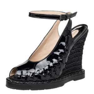 Bottega Veneta Black Intrecciato Patent Leather Wedge Sandals Size 38