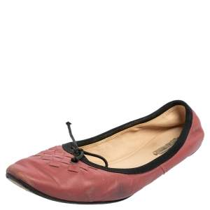 Bottega Veneta Pink Intrecciato Leather Ballet Flats Size 39.5