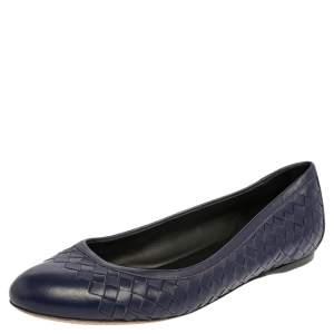 Bottega Veneta Indigo Blue Intrecciato Leather Ballet Flats Size 40