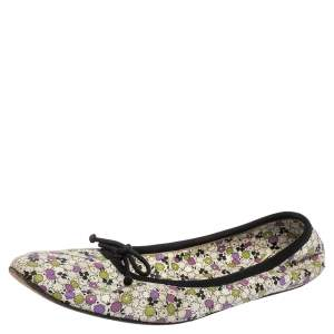 Bottega Veneta Multicolor Leather Floral Print Ballet Flats Size 39