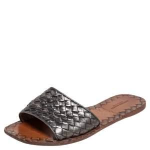 Bottega Veneta Metallic Grey Intrecciato Leather Ravello Flats Size 39