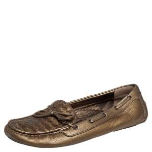 Bottega Veneta Metallic Gold Intrecciato Leather Wave Driving Loafers Size 41