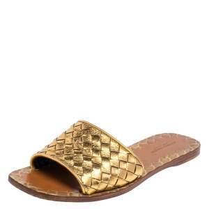 Bottega Veneta Gold Intrecciato Leather Ravello Flats Size 36.5