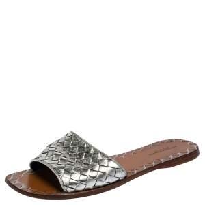 Bottega Veneta Metallic Silver intrecciato Leather Slide Sandals Size 37.5