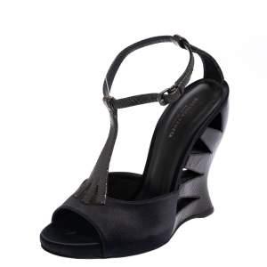 Bottega Veneta Black Satin And Python Embossed Leather  T-Strap Wedge Sandals Size 36