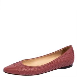 Bottega Veneta Pink Intrecciato Leather Pointed Toe Ballet Flats Size 36.5