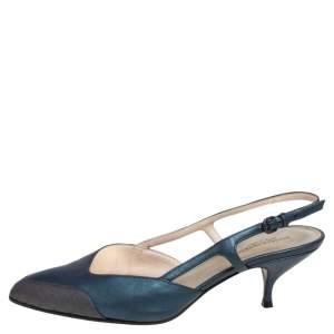 Bottega Veneta Dark Green/Brown Leather Slingback Kitten Heel Sandals Size 38.5