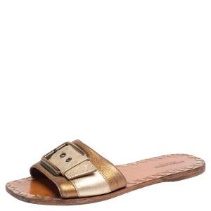 Bottega Veneta Gold/Bronze Leather Buckle Detail Flat Sandals Size 37.5